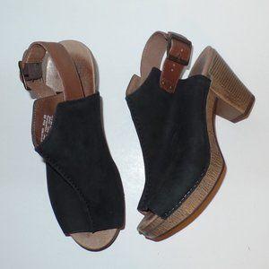Dansko Black Reggie Slingback Peep Toe Heels 9